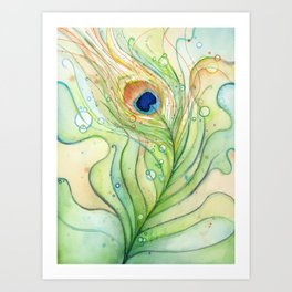 Peacock Feather Green Texture and Bubbles Art Print