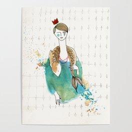 Girl and fish (presence) Poster