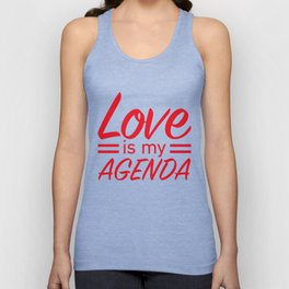LOVE IS MY AGENDA red Unisex Tank Top