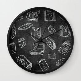 Classic Books - Pattern (Black) Wall Clock