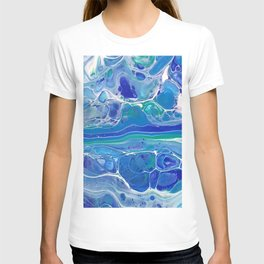 Swipe. A blue and White Abstract T-shirt