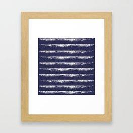 Irregular Stripes Dark Blue Framed Art Print