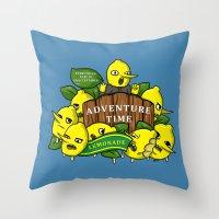 lemongrab Throw Pillows featuring Lemongrab's Acceptable Lemonade  by BlacksSideshow