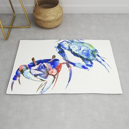 Blue Crab sea world seafood restaurtant kitchen wall art crab painting Rug