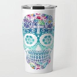 Watercolor floral sugar skull Travel Mug