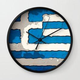 Fancy Flag: Greece Wall Clock