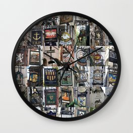 Pub Signs Montage Wall Clock