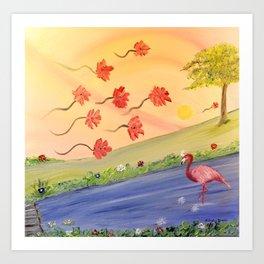 Flamant rose Art Print
