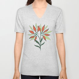 Cute Eyes Flower Monster Unisex V-Neck