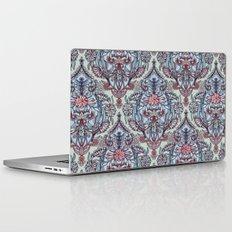 Botanical Moroccan Doodle Pattern in Navy Blue, Red & Grey Laptop & iPad Skin