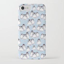 Penguin pattern on blue iPhone Case