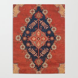 Southwest Tuscan Shapes I // 18th Century Aged Dark Blue Redish Yellow Colorful Ornate Rug Pattern Poster