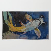 dragon age Area & Throw Rugs featuring Dragon Koi by Michael Creese