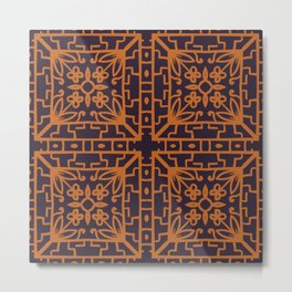Decorative Floral Pattern 8 - Bleached Cedar, Piper Orange Metal Print