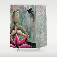 namaste Shower Curtains featuring Namaste  by hippocrocaduck