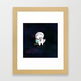 Space Kitty - Wine Time Framed Art Print