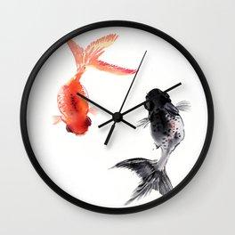 Two KOI , Feng Shui, Fish art, Wall Clock