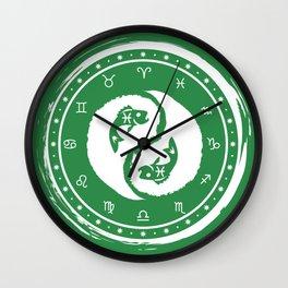 Pisces Yin Yang Fish Twelfth Zodiac Sign Wall Clock