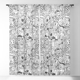 Christmas Doodles Funny and Cute Black and White Characters Sheer Curtain