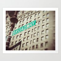 broadway Art Prints featuring Broadway  by Carmen Moreno Photography