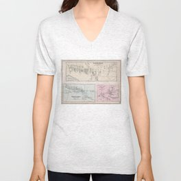 Vintage Map of The Hamptons (1873) Unisex V-Neck