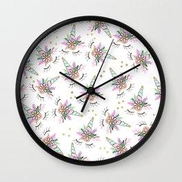 Modern cute whimsical floral unicorn pattern illustration gold glitter polka dots Wall Clock
