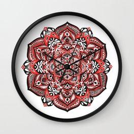 Red Blossom Wall Clock