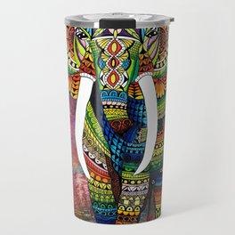 Rainbow Elephant Red Background Travel Mug