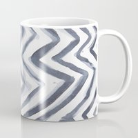 water colour Mugs featuring Black Water Colour Chevrons by Stephen John Bryde