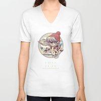 miles davis V-neck T-shirts featuring MILES AWAY by MFK00 aka Alex Arizmendi