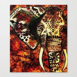 Patterned Sketched Elephant Canvas Print