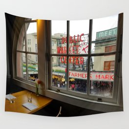 Dinner View of Pike Place Market Wall Tapestry