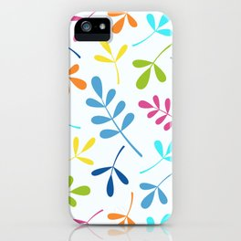 Multicolored Assorted Leaf Silhouettes iPhone Case
