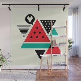 Watermelon Geometic Triangles Wall Mural