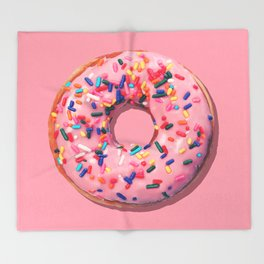 Pink Donut Throw Blanket