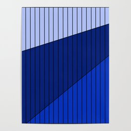 Blue Line Pattern 3 Colors Poster