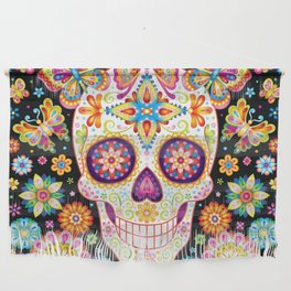Sugar Skull Art - Sugar Skull with Butterflies and Flowers by Thaneeya McArdle Wall Hanging