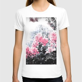 Pink Flowers Pop of Color T-shirt