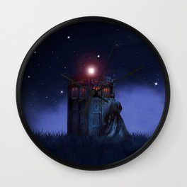 Doctor And Tardis Starry Night Wall Clock