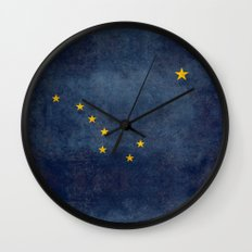 Alaskan State Flag, Distressed worn style Wall Clock