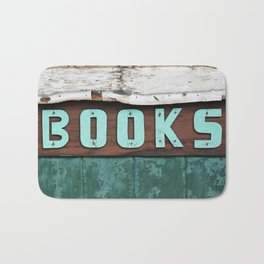 Rustic Aqua Birch Bark Book Art Bath Mat