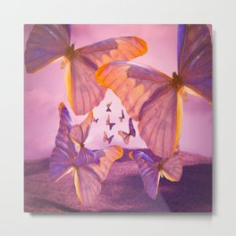 Butterflies In Flight - Pink And Purple Illustration #decor #society6 Metal Print