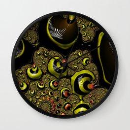 Down The Rabbit Hole Bumble Bee Yellow Black Funky Zebra Stripe Abstract Swirl Fractal Art Design Wall Clock