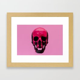 Pink Dripping Skull Framed Art Print