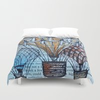 hot air balloons Duvet Covers featuring Hot Air Balloons by Sarah Ridings