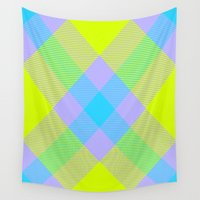 bands Wall Tapestries featuring Tartan Pattern 6 by Latidra Washington