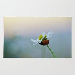 Ladybug on a Chamomile Flower Rug