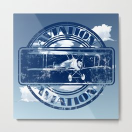 Retro Aviation Art Metal Print