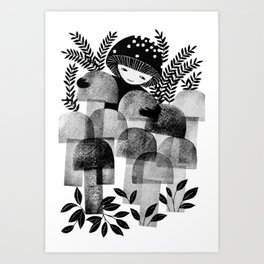black and white mushrooms ink illustration Art Print
