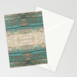 Rustic Wood - Weathered Wooden Plank - Beautiful knotty wood weathered turquoise paint Stationery Cards